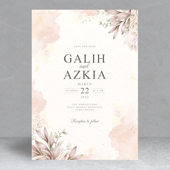 Plantilla de tarjeta de invitación de boda de hojas elegantes
