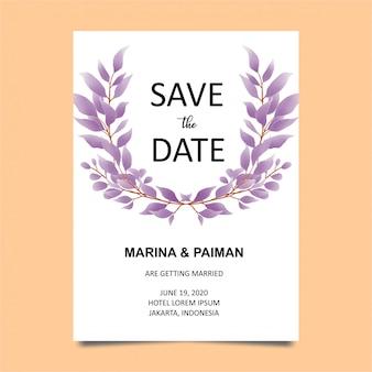 Plantilla de tarjeta de invitación de boda con hojas de estilo acuarela