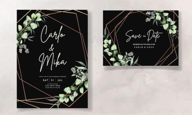Plantilla de tarjeta de invitación de boda con hojas de eucalipto acuarela