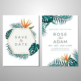 Plantilla de tarjeta de invitación de boda, con hojas y fondo floral