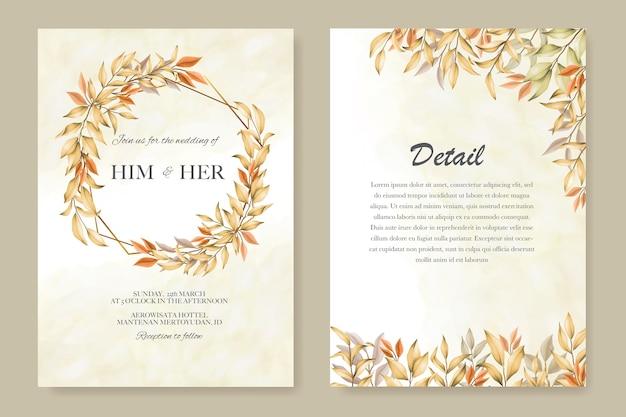 Plantilla de tarjeta de invitación de boda con hojas de otoño