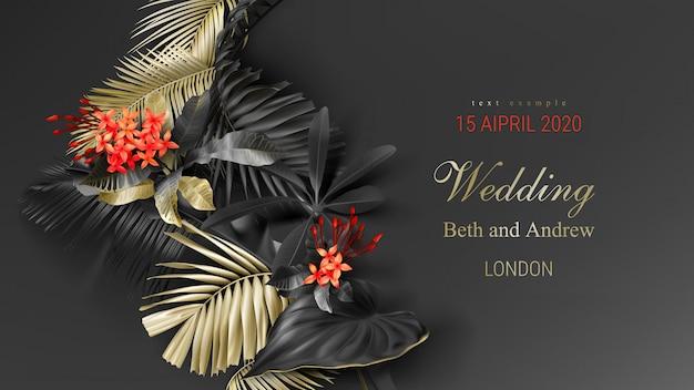 Plantilla de tarjeta de invitación de boda con hojas tropicales negras y oro