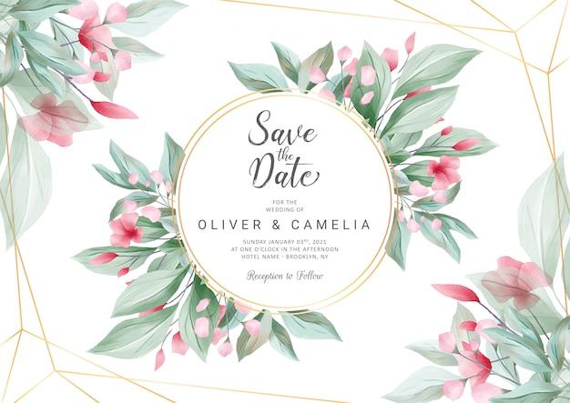 Plantilla de tarjeta de invitación de boda horizontal con flores de acuarela y decoración de línea geométrica