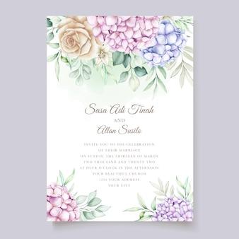 Plantilla de tarjeta de invitación de boda de hortensias acuarela