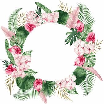 Plantilla de tarjeta de invitación de boda con la imagen de ramas de una magnolia floreciente, flores de primavera, ilustración.