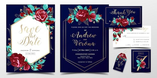 Plantilla de tarjeta de invitación de boda de lujo en tema de color azul oscuro con decoración de acuarela de rosas rojas
