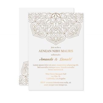 Plantilla de tarjeta de invitación de boda de lujo