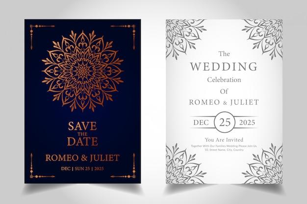 Plantilla de tarjeta de invitación de boda mandala