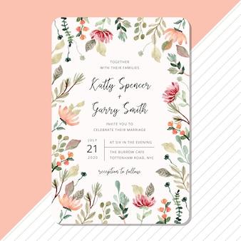 Plantilla de tarjeta de invitación de boda con marco de acuarela floral y follaje