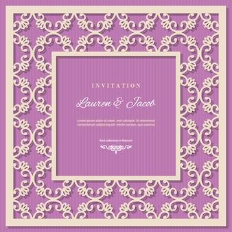 Plantilla de tarjeta de invitación de boda con marco de corte por láser.