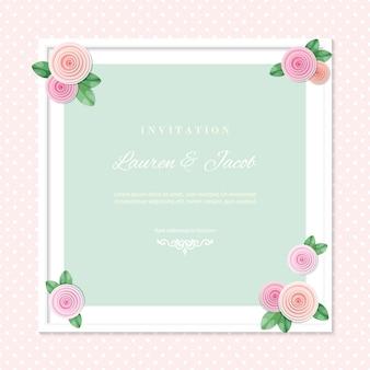 Plantilla de tarjeta de invitación de boda con marco cuadrado decorado con rosas.