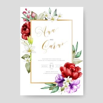 Plantilla de tarjeta de invitación de boda, marco floral acuarela