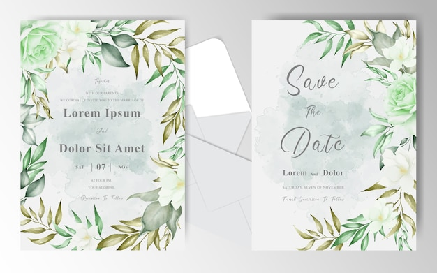 Plantilla de tarjeta de invitación de boda con marco floral de arreglo de vegetación