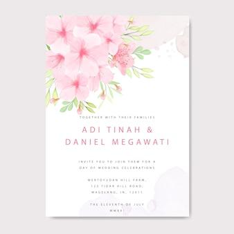 Plantilla de tarjeta de invitación de boda con marco floral de flor de cerezo