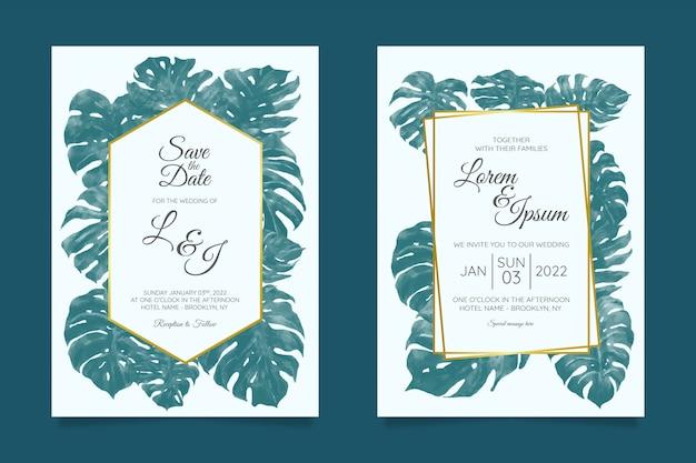 Plantilla de tarjeta de invitación de boda con marco floral tropical