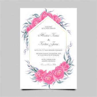 Plantilla de tarjeta de invitación de boda con marco de flores color de rosa estilo acuarela