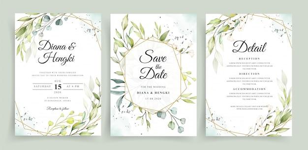 Plantilla de tarjeta de invitación de boda con marco geométrico y acuarela verde