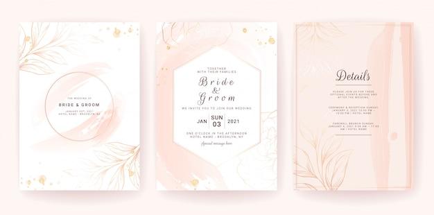 Plantilla de tarjeta de invitación de boda con marco geométrico, salpicaduras de acuarela dorada y línea floral. trazo de pincel
