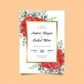 Plantilla de tarjeta de invitación de boda con marco de oro rosa y rojo estilo acuarela