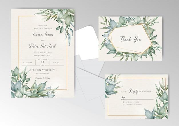 Plantilla de tarjeta de invitación de boda marco verde