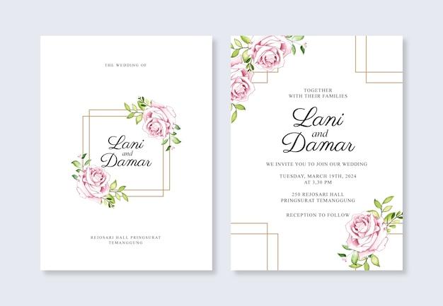 Plantilla de tarjeta de invitación de boda minimalista con acuarela de flores