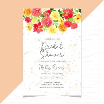 Plantilla de tarjeta de invitación de boda nupcial con acuarela frontera floral