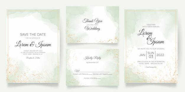 Plantilla de tarjeta de invitación de boda pastel acuarela con decoración floral dorada