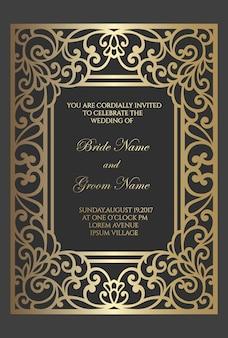 Plantilla de tarjeta de invitación de boda con patrón de lámina de oro. diseño de borde de marco cortado con láser.