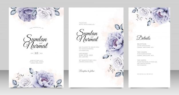 Plantilla de tarjeta de invitación de boda con peonías aquarel