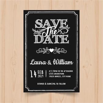 Plantilla de tarjeta de invitación de boda de pizarra vintage