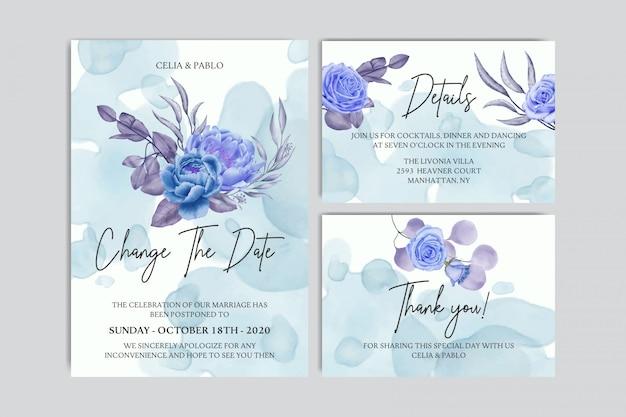 Plantilla de tarjeta de invitación de boda pospuesta flor dibujada a mano
