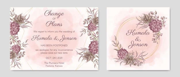 Plantilla de tarjeta de invitación de boda pospuesta floral dibujada a mano