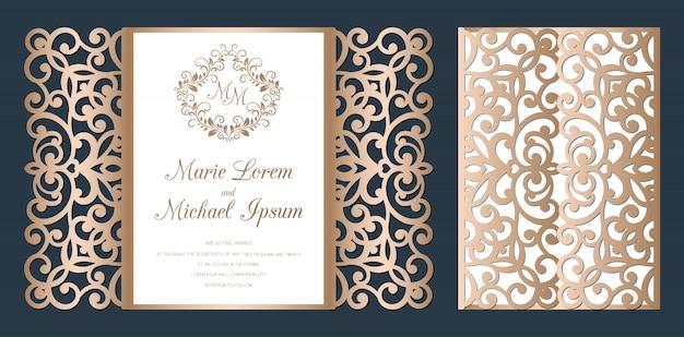 Plantilla de tarjeta de invitación de boda con puerta de corte láser. tarjeta de corte de papel con patrón de encaje.