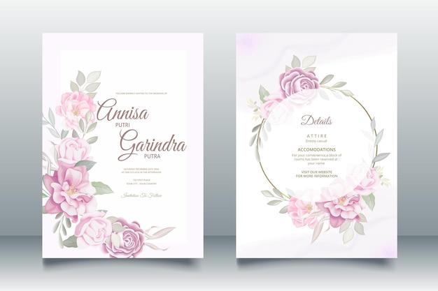 Plantilla de tarjeta de invitación de boda púrpura dulce romántica con hermosas hojas florales