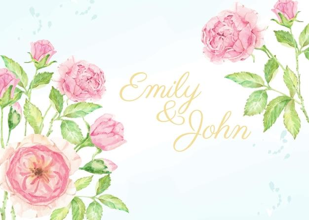 Plantilla de tarjeta de invitación de boda de ramo de rama de flor rosa rosa acuarela