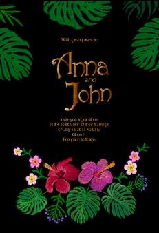 Plantilla de tarjeta de invitación de boda. reserva. diseño exótico tropical de las hojas de monstera