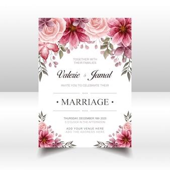Plantilla de tarjeta de invitación de boda roja de lujo con acuarela floral