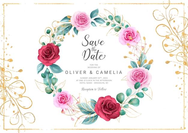 Plantilla de tarjeta de invitación de boda romántica con corona floral acuarela y brillo dorado