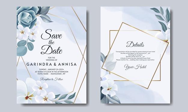 Plantilla de tarjeta de invitación de boda romántica con hojas florales azules premium vector