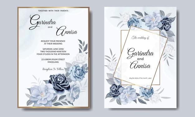 Plantilla de tarjeta de invitación de boda romántica con hojas florales azules