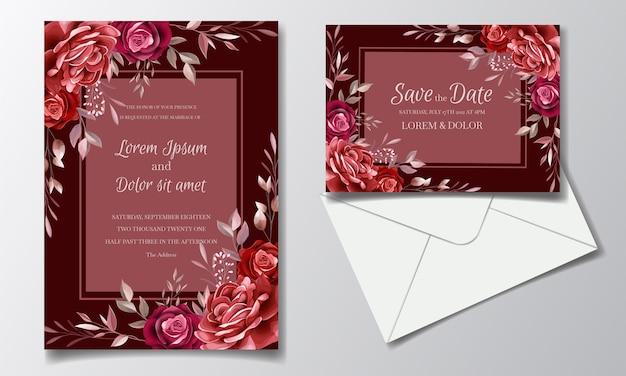 Plantilla de tarjeta de invitación de boda romántica marrón con flores y hojas de cosmos rosa