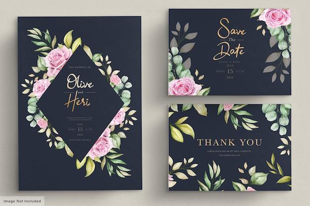 Plantilla de tarjeta de invitación de boda con rosas en acuarela