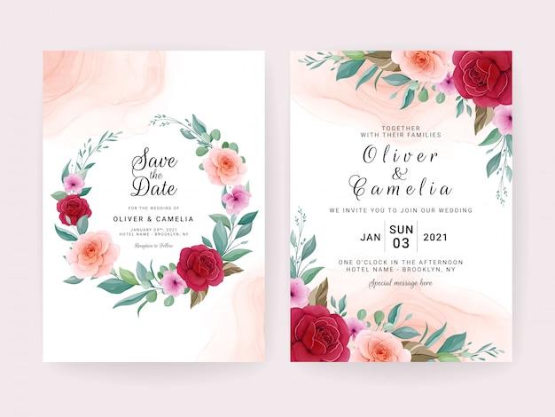 Plantilla de tarjeta de invitación de boda con rosas, flores de anémona y hojas