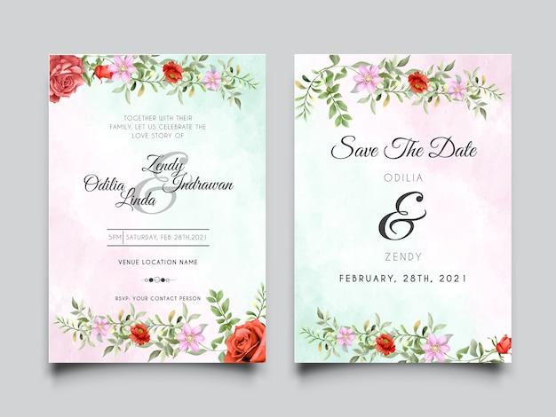 Plantilla de tarjeta de invitación de boda con rosas rojas burdeos