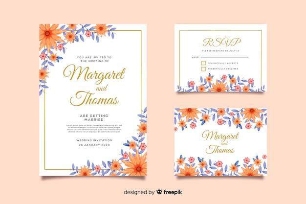 Plantilla de tarjeta de invitación de boda, rsvp
