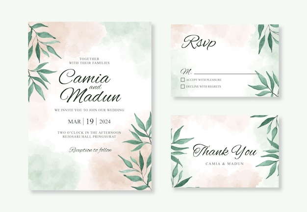Plantilla de tarjeta de invitación de boda con salpicaduras de acuarela y hojas