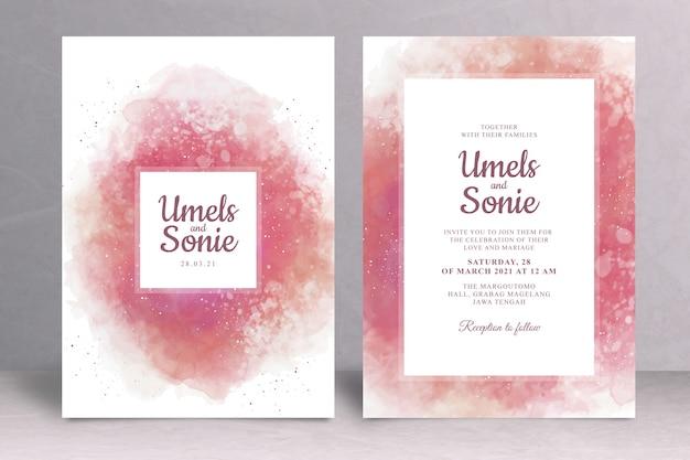 Plantilla de tarjeta de invitación de boda con salpicaduras de acuarela