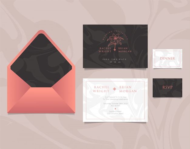 Plantilla de tarjeta de invitación de boda con sobre, diseño elegante en colores rosa, blanco y negro
