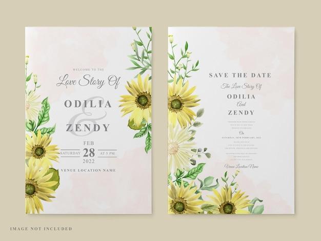 Plantilla de tarjeta de invitación de boda tema de girasol