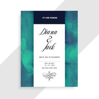 Plantilla de tarjeta de invitación de boda con textura de acuarela